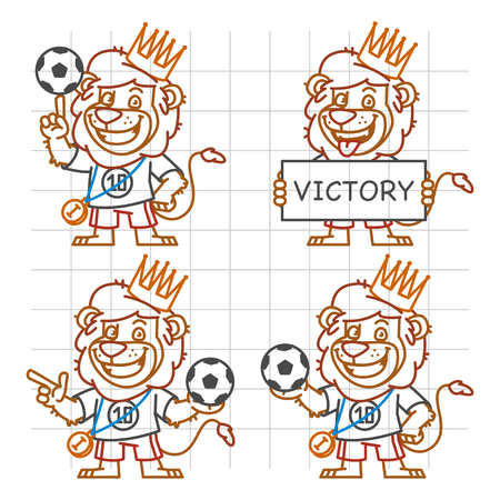 rey caricatura: Le�n futbolista Parte 3 del Doodle