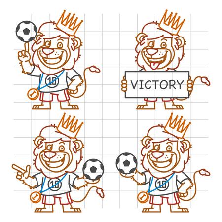 rey caricatura: Lion Footballer Doodle Part 3 Vectores