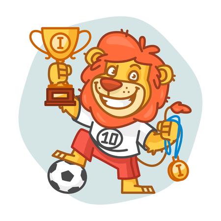rey caricatura: León futbolista sostiene Copa y medalla