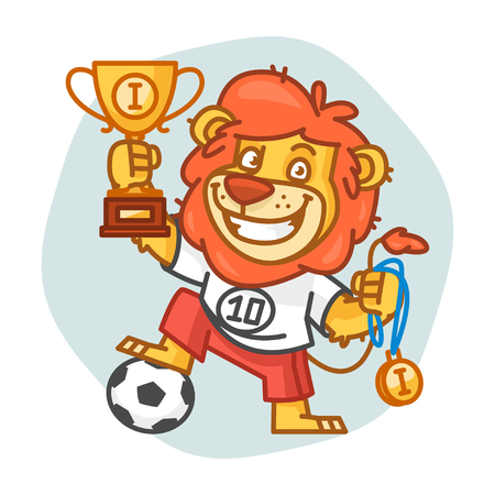 rey caricatura: Lion Footballer Holding Cup and Medal