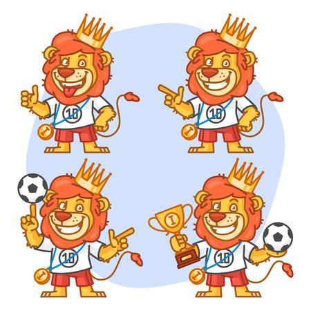 rey caricatura: León futbolista Parte 2 Vectores