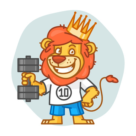 rey caricatura: Lion Holding Dumbbell and Smiling Vectores