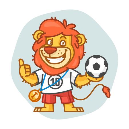 rey caricatura: Le�n sostiene la bola y que muestra los pulgares para arriba