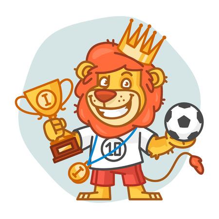 rey caricatura: Le�n sostiene la taza y el bal�n de f�tbol