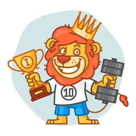 rey caricatura: Lion Holds Dumbbell and Prize Cup