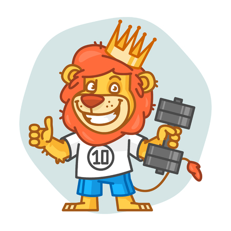 rey caricatura: Lion Holds Dumbbell and Showing Thumbs Up Vectores