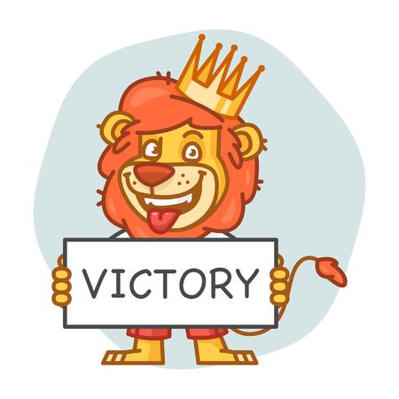 rey caricatura: Le�n sostiene el cartel y sonriente