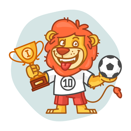 rey caricatura: Lion Holds Soccer Ball and Cup