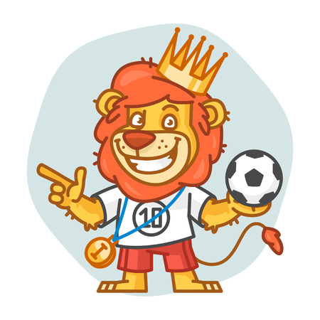 rey caricatura: Lion Holds Soccer Ball and Points