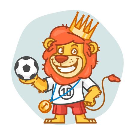 rey caricatura: Le�n sostiene el bal�n de f�tbol y sonriente