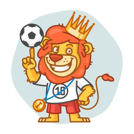rey caricatura: Le�n sostiene el bal�n de f�tbol en un dedo