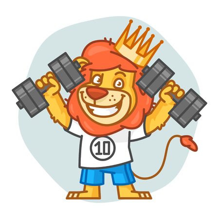 rey caricatura: Lion Picks Up Dumbbells and Smiling
