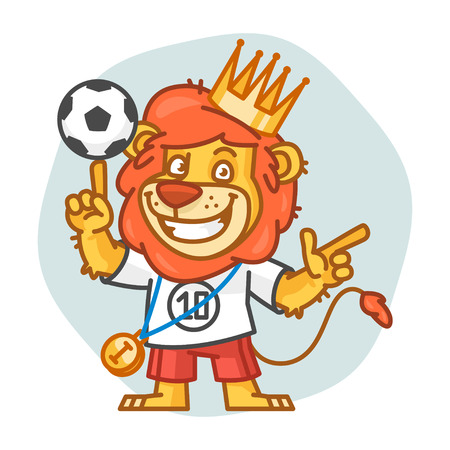 rey caricatura: Lion Picks Up Soccer Ball and Points Vectores