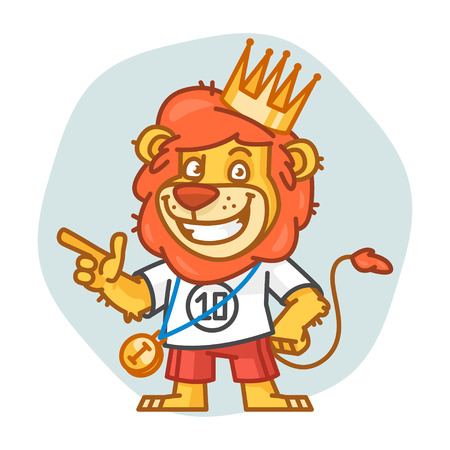 rey caricatura: Lion Points Finger and Smiling Vectores
