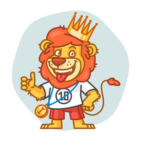 rey caricatura: Le�n que muestra los pulgares hacia arriba y sonriendo