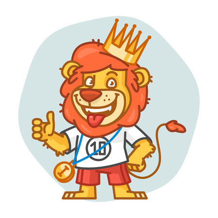 rey caricatura: Lion Showing Thumbs Up and Smiling
