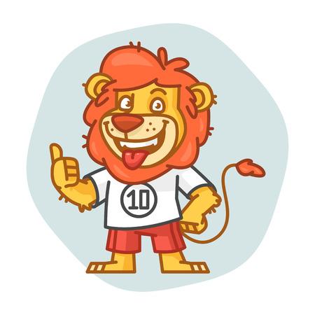 rey caricatura: Le�n sonriendo y mostrando los pulgares para arriba