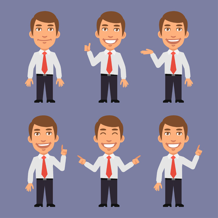 personaje: El hombre de negocios de puntos en diferentes versiones Vectores