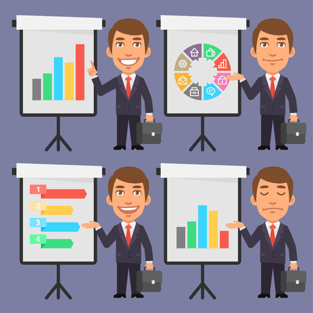 flip chart: Businessman in Suit Points to Flip Chart Illustration