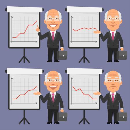 flip chart: Old Businessman in Suit Points to Flip Chart Illustration