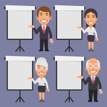 flip chart: Businessman and Businesswoman Points to Blank Flip Chart