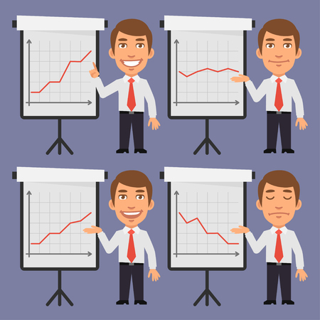 working people: Businessman Points on Flip Chart with Graphs