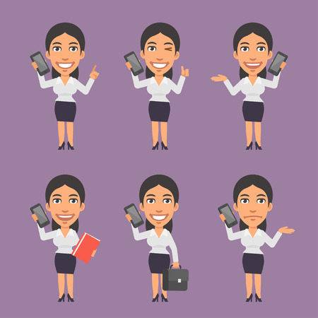 the businesswoman: Businesswoman Holding Mobile Phone in Different Versions