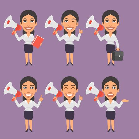the businesswoman: Businesswoman Holds Megaphone in Different Versions