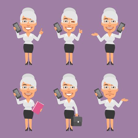 businesswoman: Old Businesswoman Holding Mobile Phone in Different Versions Illustration