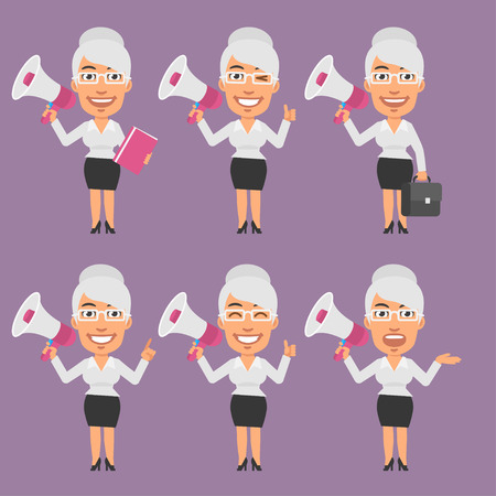the businesswoman: Old Businesswoman Holds Megaphone in Different Versions
