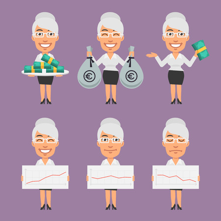 businesswoman: Old Businesswoman Holds Money and Paper