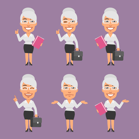 businesswoman: Old Businesswoman Holds Suitcase and Folder