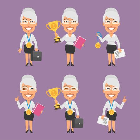businesswoman: Old Businesswoman Holds Suitcase Cup and Medal