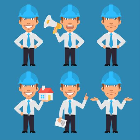 ingeniero caricatura: Ingeniero mantiene los documentos megáfono y mostrando Vectores