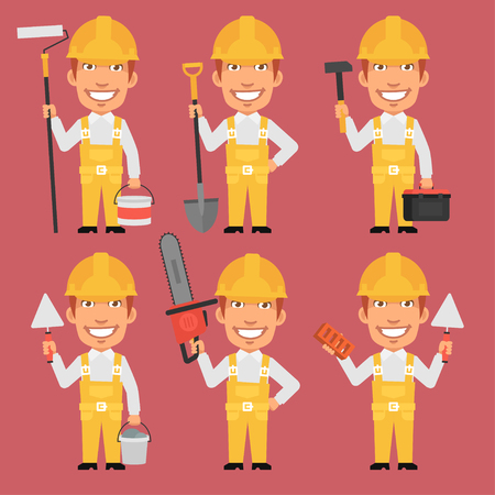 Builder Holds Different Tools