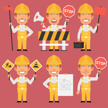 Builder Holds Different Signs Illustration