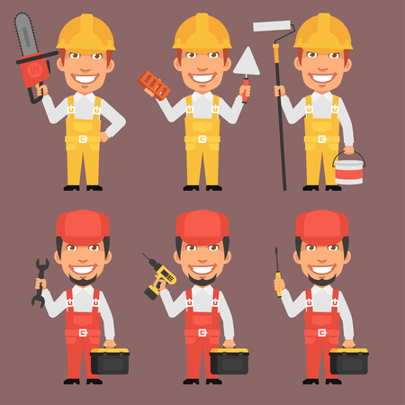 builder: Builder and Repairman Holds Tools Part Illustration