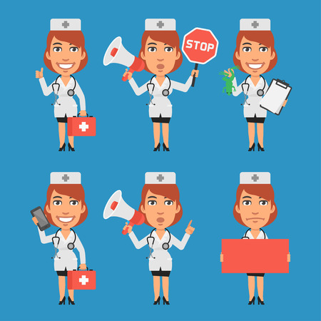 woman on phone: Woman Doctor Megaphone Stop Sign Paper Phone Illustration