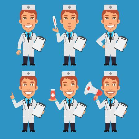 doctor tablet: Doctor Holds Notebook Tablet Thermometer Megaphone
