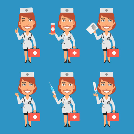 doctor tablet: Woman Doctor Holds Suitcase Syringe Tablet Thermometer Documents Illustration