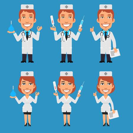 einlauf: Doctor and Nurse Holding Enema Syringe Thermometer Illustration