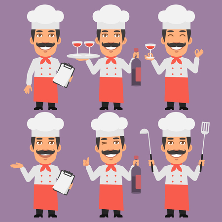 chefs cooking: Chef Holds Wine and Notebook Illustration