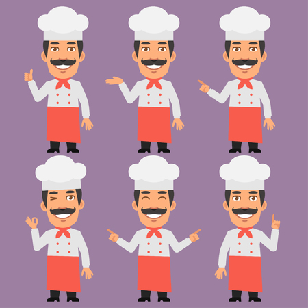 business graphics: Chef Shows and Indicates Illustration
