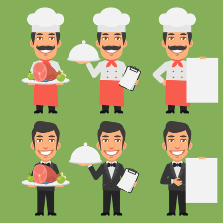 food and beverage: Chef and Waiter Holding Meat Tray Paper