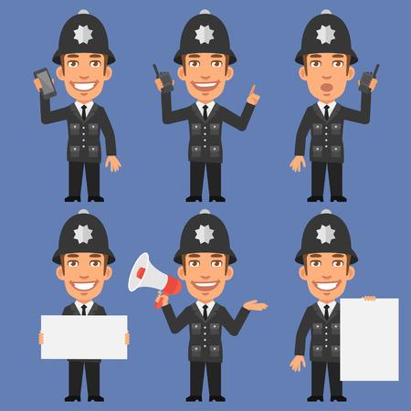 policia caricatura: Inglés Policía sostiene el papel del megáfono Teléfono Vectores