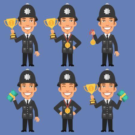 policia caricatura: Ingl�s Polic�a lleva a cabo medalla en la copa y el dinero