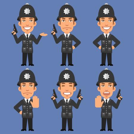 policia caricatura: Ingl�s Polic�a lleva a cabo Armas Vectores