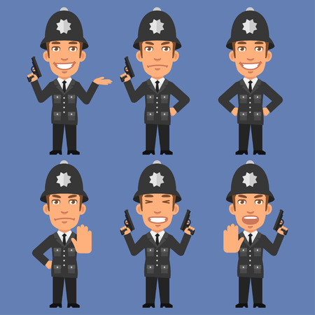 policia caricatura: Inglés Policía lleva a cabo Armas Vectores