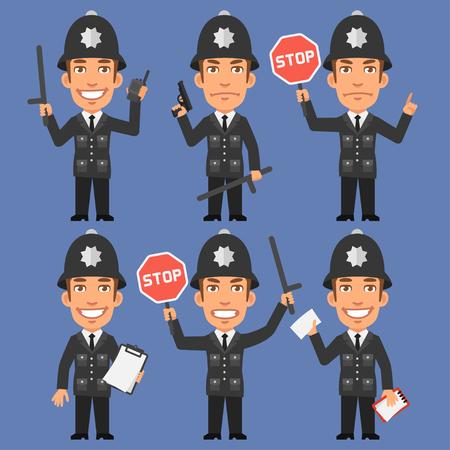 policia caricatura: Inglés Policía lleva a cabo Armas y señal de stop