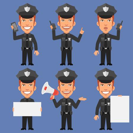 policia caricatura: El policía que sostiene el papel del megáfono Teléfono Vectores